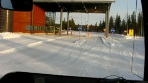 Passing the Finnish border control, on our way into Russia.