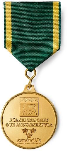 En guldmedalj för skicklighet och ansvarskänsla.