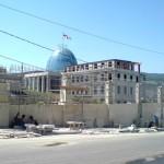 Saakashvilis palats under uppbyggnad i Tbilisi, Georgien.