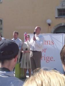 Fredrik Reinfelt, Maud Olofsson och Jan Björklund i Almedalen för många år sedan.
