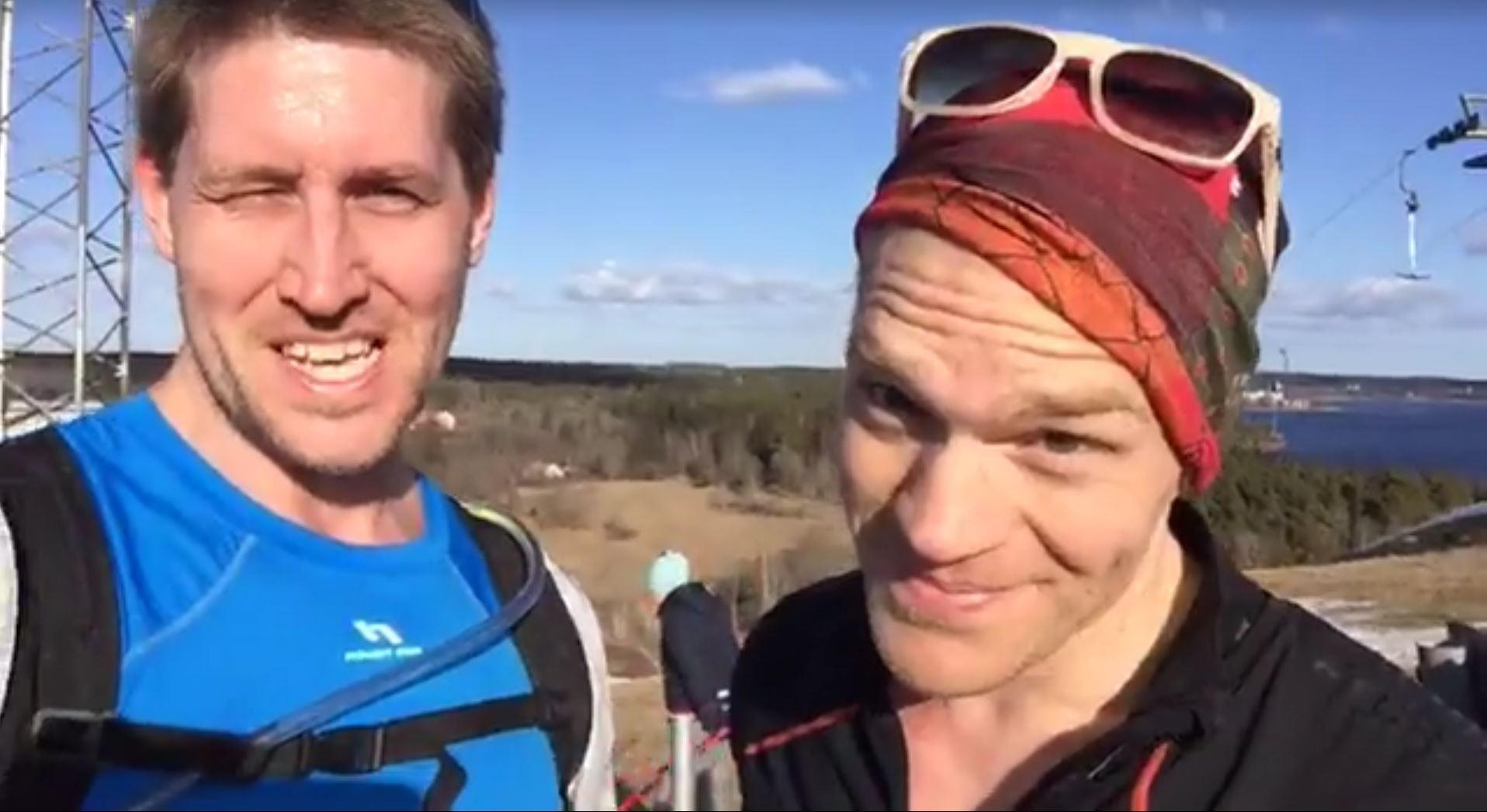 Mikael Rodemar och jag framme vid målet på Brukets backe.