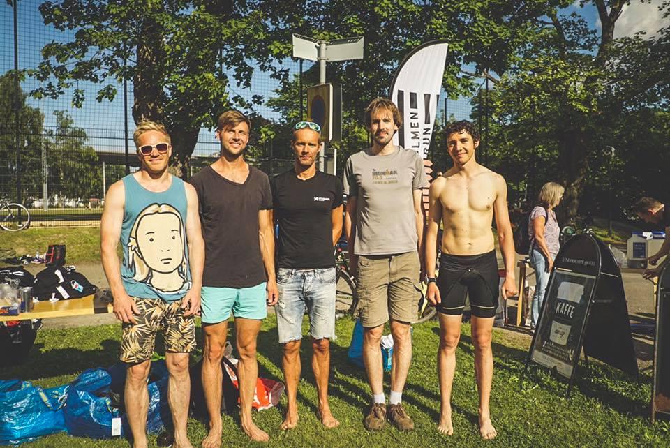 Långholmen Swimrun 2017. Herrarnas prispall.