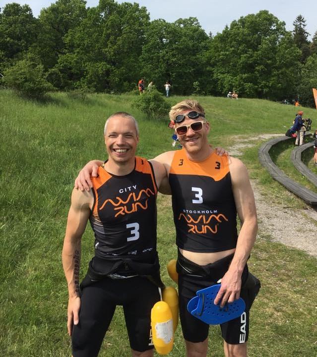 Tomas Granberg och Andreas Ribbefjord på Stockholm Swimrun 2017.